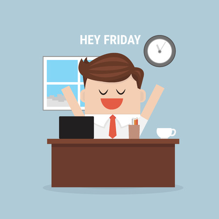 feel: Businessman feel happy on Friday. vector. flat design