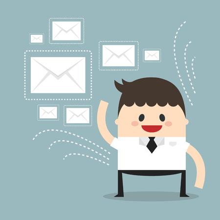 messages: Businessman sending messages Illustration