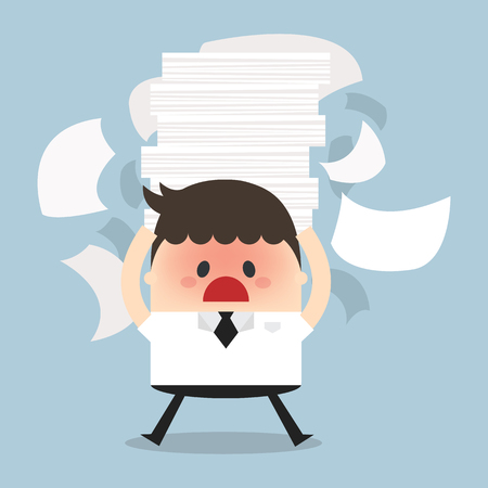 desk job: Businessman holding a lot of documents in his hands. vector