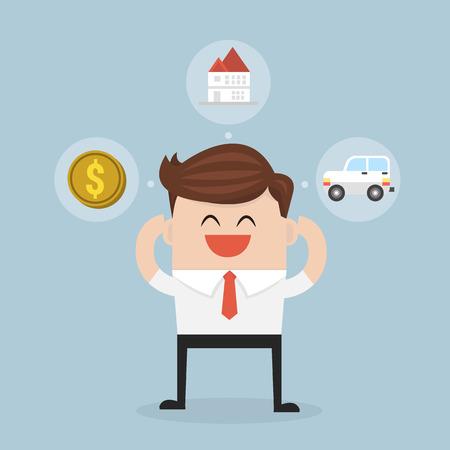 ideally: Businessman imagine building to home revenue, money, and car. vector. flat design