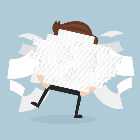 Businessman run holding a lot of documents in his hands.vector. flat design