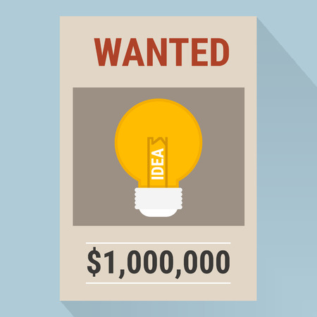 wanted poster: Wanted poster with light bulb idea.