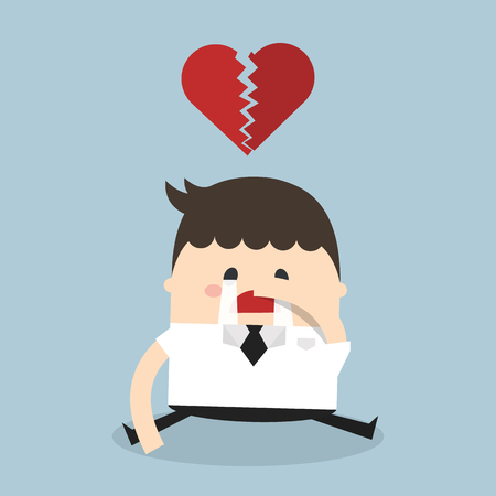 sad cartoon: Businessman broken heart, heartbreak
