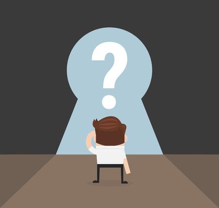 job opportunity: businessman and big keyhole