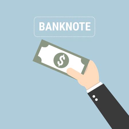 wealth concept: bonus money in hand illustration, vector