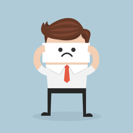 hide: Businessman hide his real face by holding bad mood mask. flat design. vector