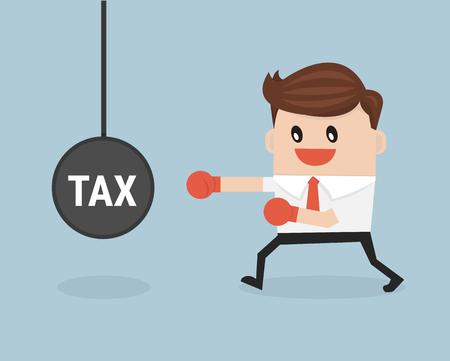 hard working people: Business man punch big pendulum tax. Illustration