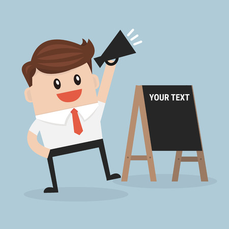 Businessman promote the product.vector