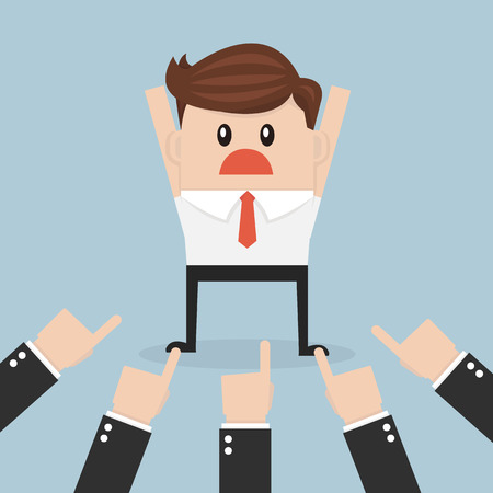 Businessman being pointed at by a lot of hands, vector, flat design Illustration