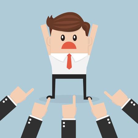 jefe enojado: Hombre de negocios que apunta a por muchas manos, vector, dise�o plano