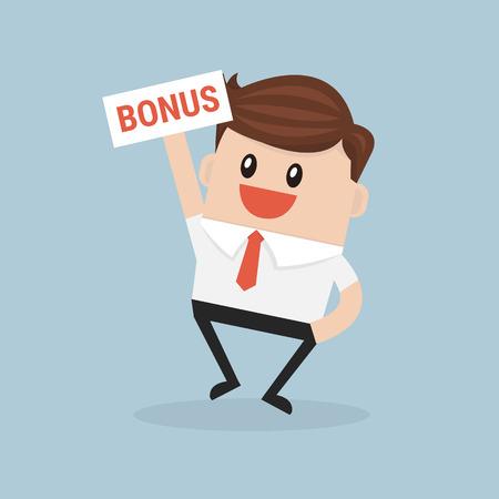 Businessman holding bonus