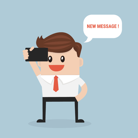 new message: businessman reading new message