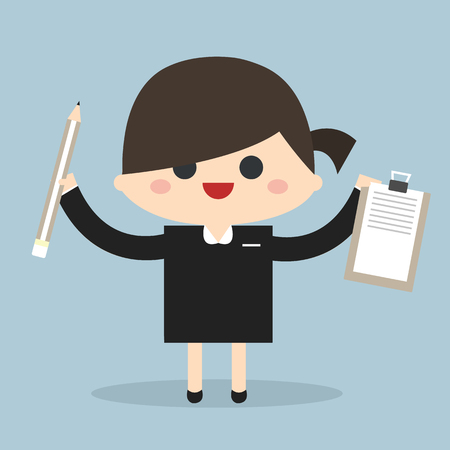 holding notes: Businesswoman holding notes and a pen. Illustration