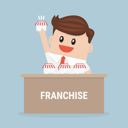 Businessman want to expand his business, Franchise Concept. vector. flat design
