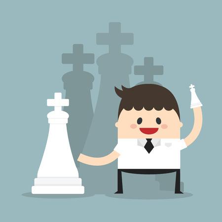 strategic position: Successful businessman