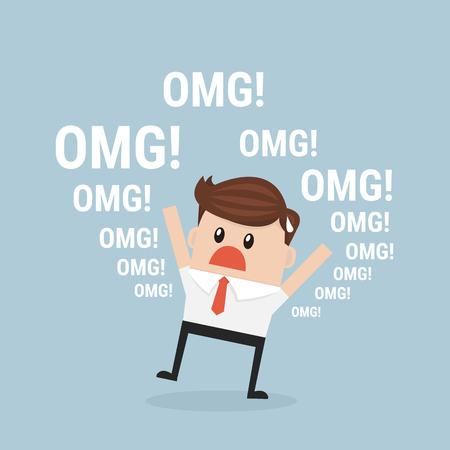 disconcert: Businessman says oh my god!. vector