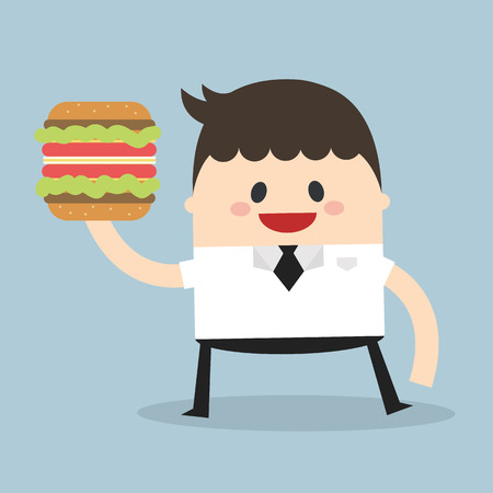 waiter: Businessman hold Burger Vector, flat design