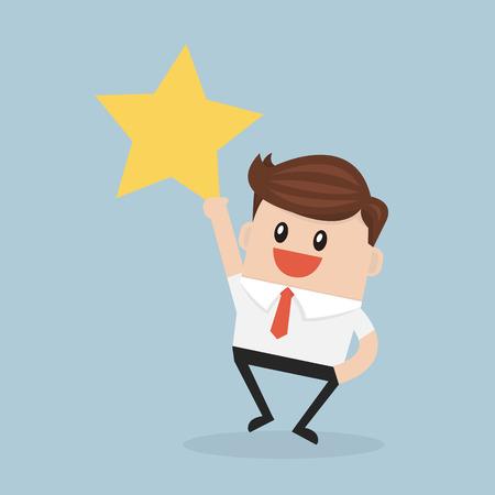 get up: Businessman reaching up to get a golden star