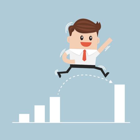 businessman jumping: Businessman Jump Through The Gap In Growth Chart vector