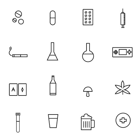 line: DRUGS & ADDICTIONS line icons