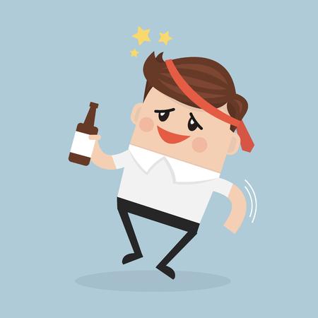 Dronken zakenman met een fles alcohol. Vector Illustratie