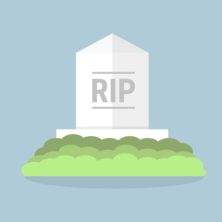 Cartoon grave flat design. Vector illustration, long shadow, halloween.