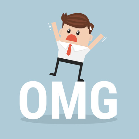 Businessman stand on oh my god! text. vector