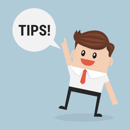 Businessman saying tips ! - Vector
