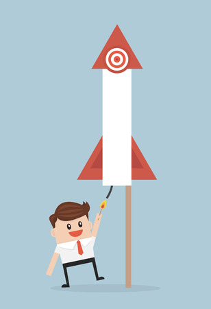 business project: Businessman launching firework rocket. Illustration