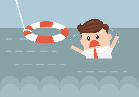 preserver: Businessman With Life Preserver. Flat design