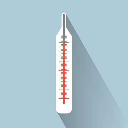 glass thermometer: Vector medical thermometer flat icon. Eps 10. Illustration