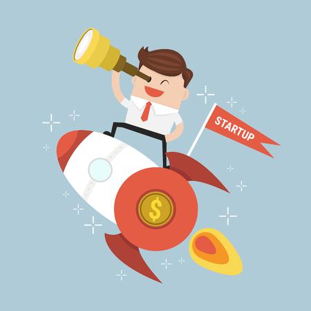 Startup Business. Businessman on a rocket. Flat design business.