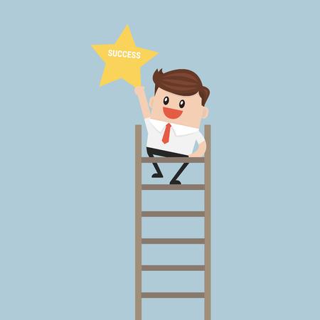 clamber: Businessman on a ladder grab star