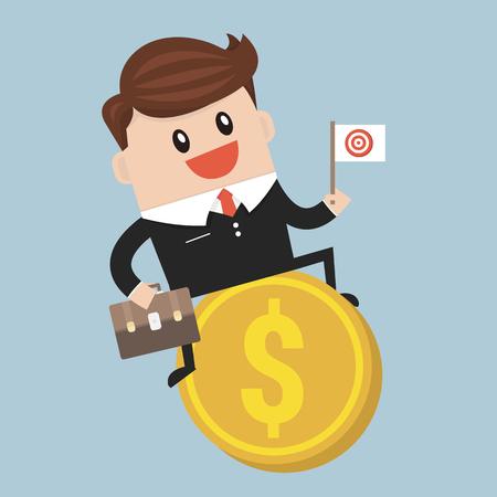 new account: Businessman riding flying money, flat design Illustration