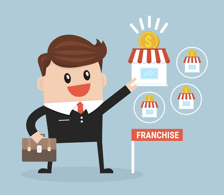 expand: Businessman want to expand his business, Franchise Concept.