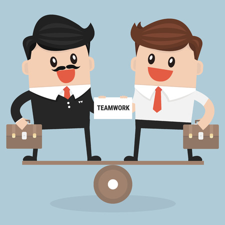 buisness: Negotiating buisness equality, teamwork Illustration