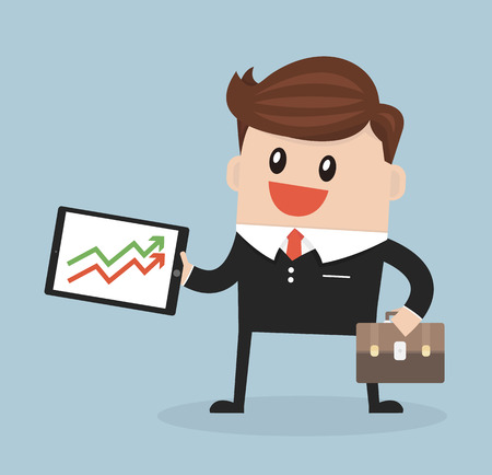 growth: businessman Presenting Growth flat design vector. Illustration