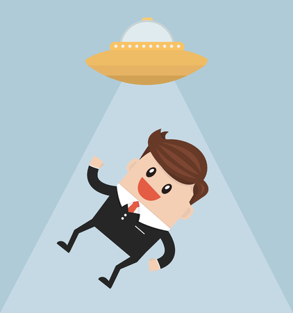 imagine a science: Businessman abducted by UFO flat design Illustration