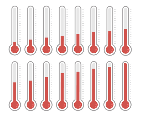 high scale: illustration of red thermometers with different levels, flat style.