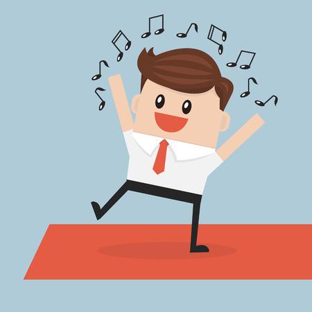 businessman walking: Businessman walking on the red carpet Illustration