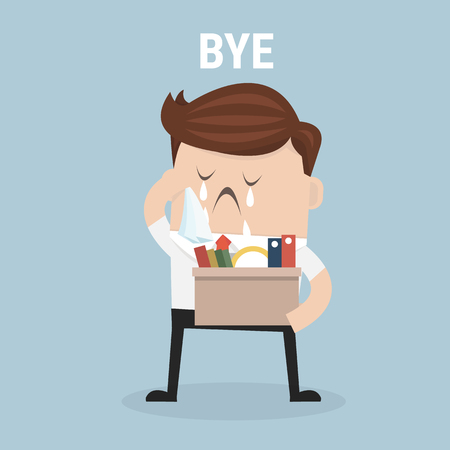 resign: Businessman Leaving Job, vector, flat design