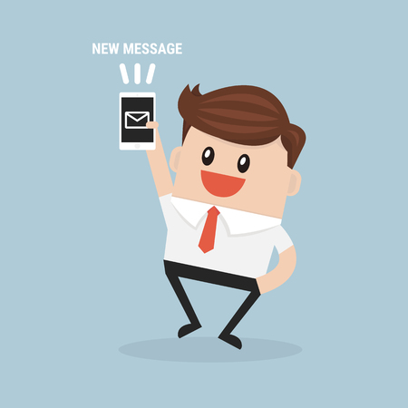 new message: Businessman reading new message vector