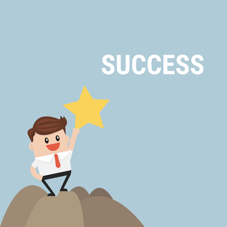 businessman standing: Successful businessman standing on top of mountain.