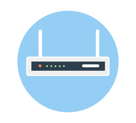 hub computer: Router flat icon. Isolated router on blue background. Illustration