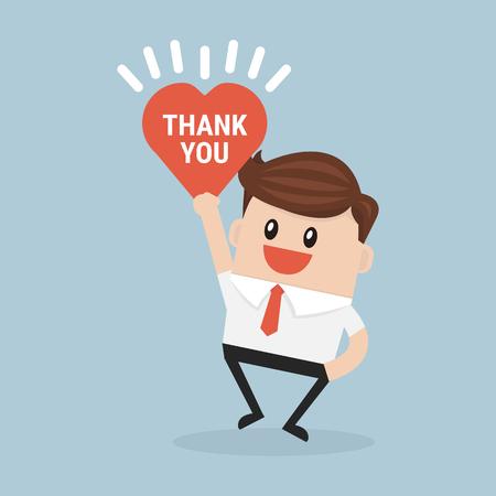 Empresario manos sosteniendo Gracias firmar vectorial Ilustración de vector