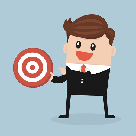 cooperate: Businessman holding a big target, flat design, vector
