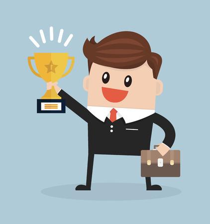 winning: Businessman holding winning trophy
