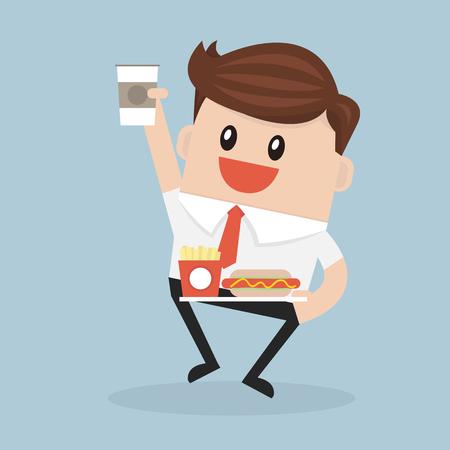 empleado de oficina o administrador que lleva una bandeja con la taza de café de papel, perro caliente y patatas fritas cuadro Ilustración de vector