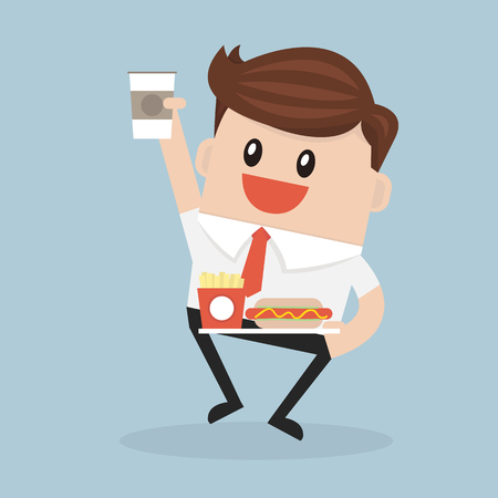 unhealthy thoughts: Office worker or manager carrying a tray with paper cup of coffee, hot dog and french fries box