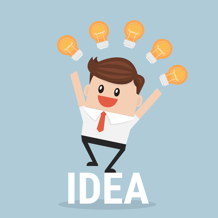 new ideas: Businessman with many new ideas. Business concept illustration